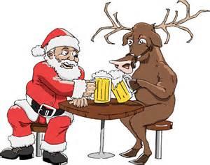 santa and reindeer with beer